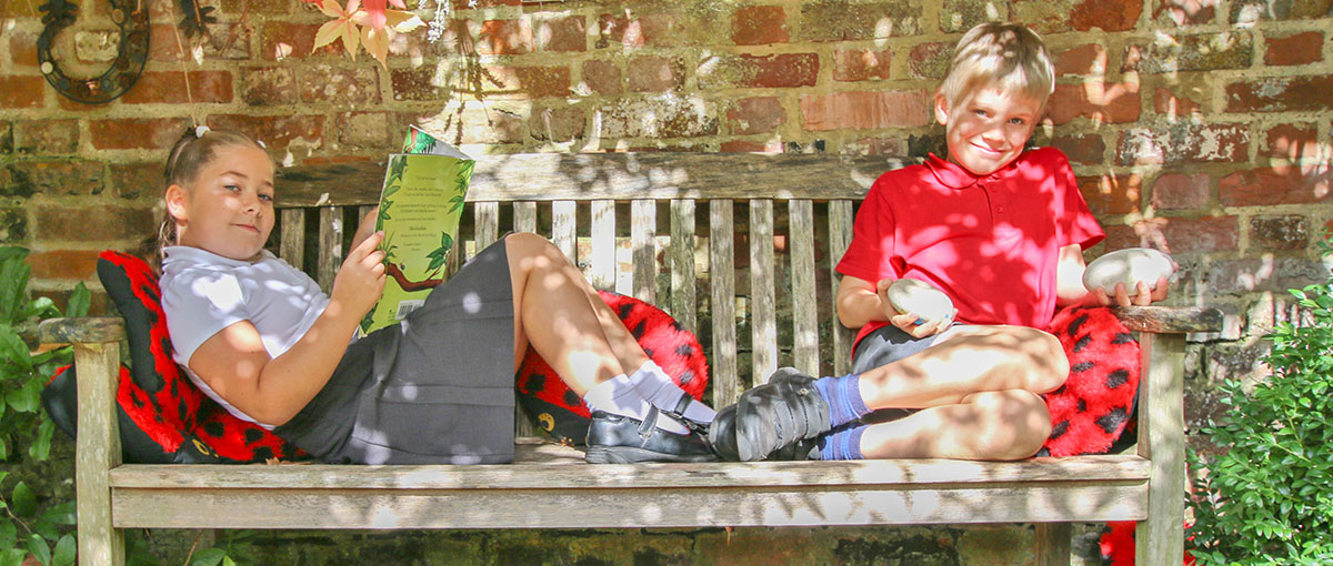 Pupils on a bench at Chilham School